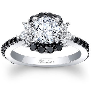 Barkev's Designer 14k White Gold 1 1/2ct TDW Black and White Diamond Engagement Ring