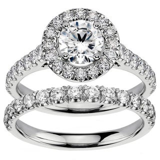 14k White Gold 2 1/4ct TDW Diamond Engagement Bridal Set