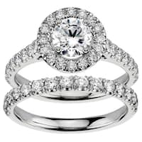 14k White Gold 2 1/4ct TDW Diamond Engagement Bridal Set