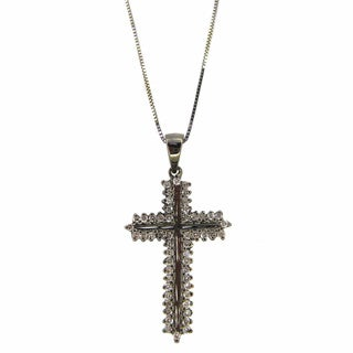 Luxe 14k Black Plated Gold 5/8ct TDW Diamond Cross Necklace