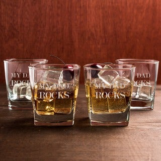 My Dad Rocks Glasses (Set of 4)