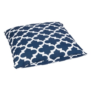 Scalloped Navy Corded Outdoor/ Indoor Large 28-inch Floor Pillow