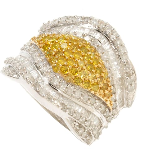 Sterling Silver 1 3/4ct TDW Yellow and White Diamond Ring
