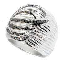 Sterling Silver 1/2ct TDW Black Diamond Wide Ring