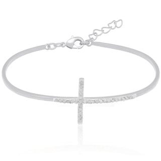 Finesque Gold Overlay 1/3ct TDW Diamond Sideways Cross Bracelet (I-J, I2-I3)