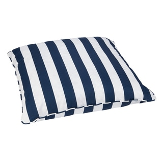 Striped Navy Corded Outdoor/ Indoor Large 28-inch Floor Pillow