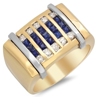 14k Two-tone Gold Men's 3/8 ct TDW Diamond and 1 3/4 ct Sapphire Ring (F-G, SI1-SI2)