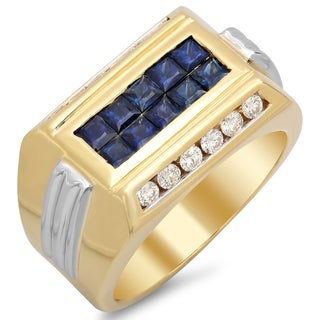 14k Two-tone Gold Men's 3/5 ct TDW Diamond and 1 1/2 ct Sapphire Ring (F-G, SI1-SI2)
