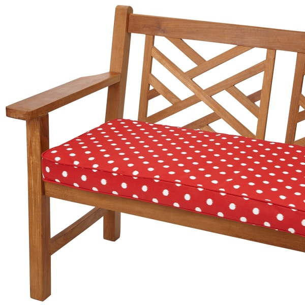 Red dots 48 inch indoor outdoor corded bench cushion for Home goods patio furniture cushions