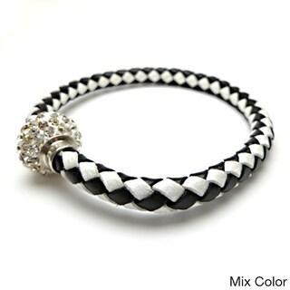 Braided Leather Rhinestone Crystal Clasped Bangle Bracelet (Option: Off-White)