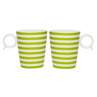 Red Vanilla Freshness Mix & Match Olive Lines 12-ounce Mugs (Set of 2)