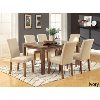Furniture of America Nalt Modern Oak Faux Leather 7-piece Dining Set