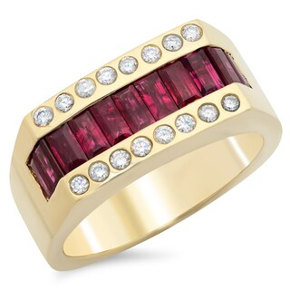 14k Gold Men's 1/2 ct TDW White Diamond and 3 3/4 ct Baguette-cut Ruby Ring (F-G, SI1-SI2)