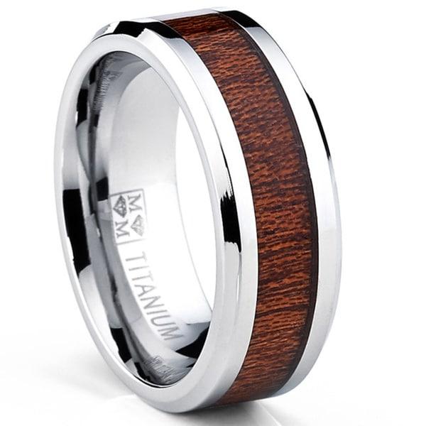 Oliveti Men's Titanium Real Wood Inlay Flat Top Band Comfort-fit Ring (8 mm)