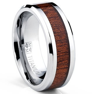 Oliveti Men's Titanium Real Wood Inlay Flat Top Band Comfort-fit Ring (8 mm) - Silver