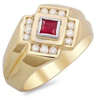 14k Yellow Gold Men's 1/2 ct TDW White Diamond and 2 /5 ct Bezel-set Ruby Ring (F-G, SI1-SI2)