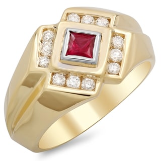 14k Yellow Gold Men's 1/2 ct TDW White Diamond and 2 /5 ct Bezel-set Ruby Ring (F-G, SI1-SI2)