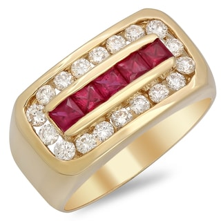 14k Yellow Gold Men's 1 1/3 ct TDW White Diamond and 1 ct Ruby Ring (F-G, VS1-VS2)
