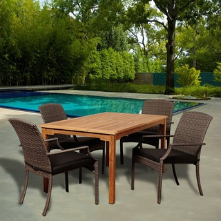 Amazonia Teak Arno 5-piece Rectangular Teak and Wicker Dining Set with Grey Cushions