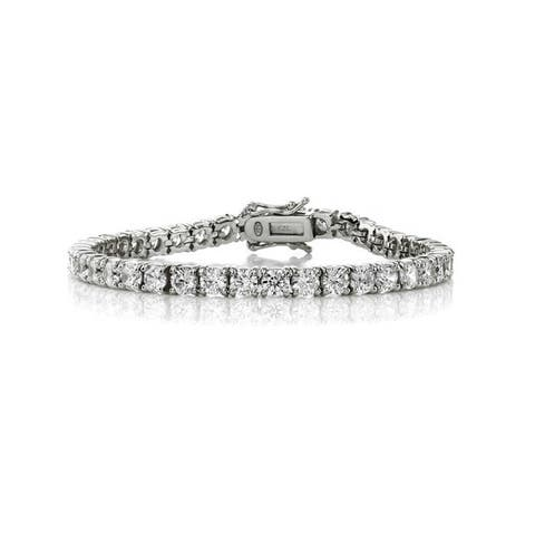 Collette Z Sterling Silver with Rhodium Plated Clear Round Cubic Zirconia 4MM Tennis Bracelet