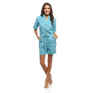 Live a Little Women's Blue Elastic Romper (Option: 14)|https://ak1.ostkcdn.com/images/products/8941761/Live-a-Little-Womens-Blue-Elastic-Romper-P16154990.jpg?impolicy=medium