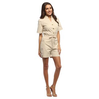 Live A Little Women's Tan Elastic Waist Romper (Option: 14)|https://ak1.ostkcdn.com/images/products/8941762/Live-A-Little-Womens-Tan-Elastic-Waist-Romper-P16154991.jpg?impolicy=medium
