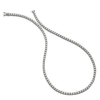 Collette Z Sterling Silver With Rhodium Plated Clear Round Cubic Zirconia Tennis Necklace