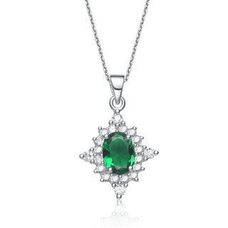 Collette Z Sterling Silver Green Cubic Zirconia Necklace