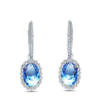 Collette Z Sterling Silver Blue Cubic Zirconia Oval Drop Earrings