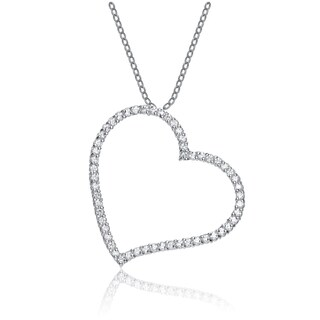 Collette Z Sterling Silver Cubic Zirconia Heart Shape Necklace