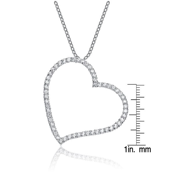 925 Sterling Clear White Cubic Zirconia Crystal Heart Necklace with box