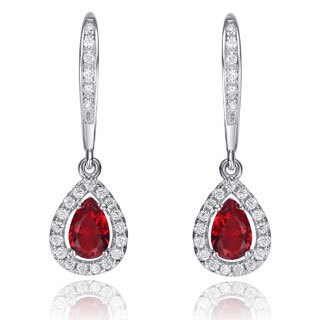 Collette Z Sterling Silver Red Cubic Zirconia Pear-shape Dangling Earrings