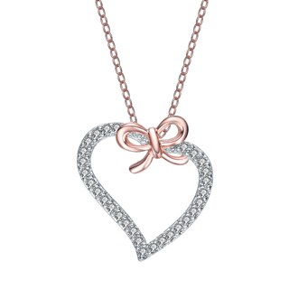 Collette Z Rose-plated Sterling Silver Cubic Zirconia Heart and Bowtie Necklace