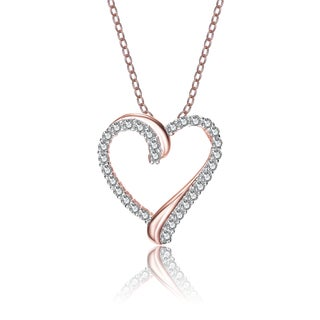 Collette Z Rose-plated Sterling Silver Cubic Zirconia Double Heart Necklace