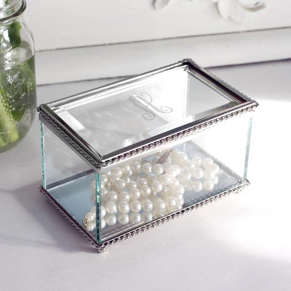 Personalized Beveled Glass Jewelry Box 3 x 5 x 35 Free Shipping
