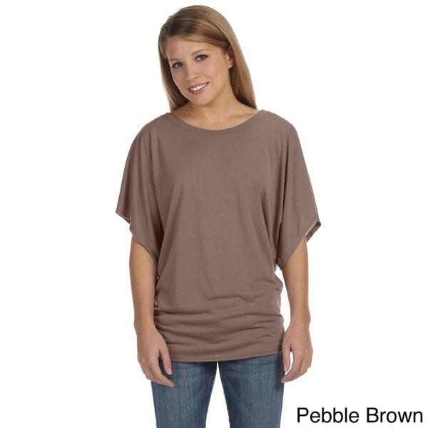Bella Women's Draped Sleeve Dolman T-shirt. Opens flyout.