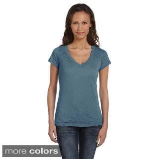 Bella Women's Burnout V-neck T-shirt|https://ak1.ostkcdn.com/images/products/8941825/Bella-Womens-Burnout-V-neck-T-shirt-P16155047.jpg?impolicy=medium