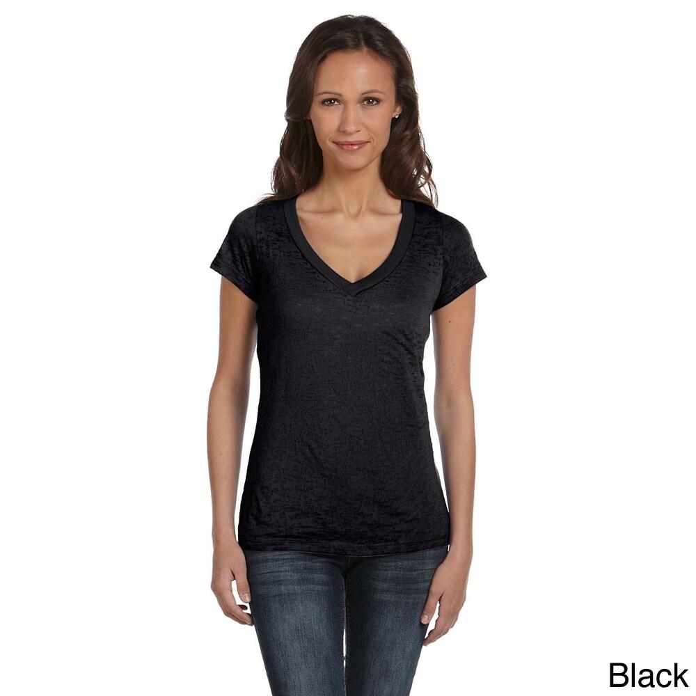Bella Women's Burnout V-neck T-shirt (M,Black) (polyester...