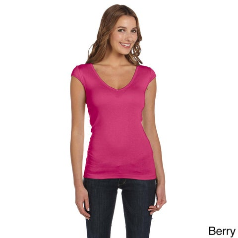 Bella Women's Sheer Rib Deep V-neck T-shirt