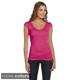 Bella Women's Sheer Rib Deep V-neck T-shirt