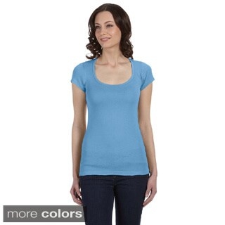 Bella Women's 'Margot' Sheer Rib Scoop Neck T-shirt (Option: Pink)
