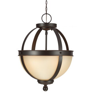 Sfera 2-light Semi-flush Convertible Autumn Bronze Pendant with Cafe Tint Glass