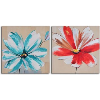 Hand Painted 'Teal and Rouge Flowers' Canvas Wall Art