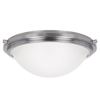 Winnetka 3-light Brushed Nickel Ceiling Flush Mount with Satin Etched Glass