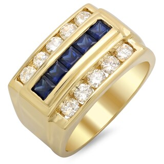 14k Yellow Gold Men's 1 ct TDW Round White Diamond and 1 1/10 ct Sapphire Ring (F-G, SI1-SI2)