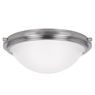 Winnetka 2-light Brushed Nickel Flush Fixture with Satin Etched Glass