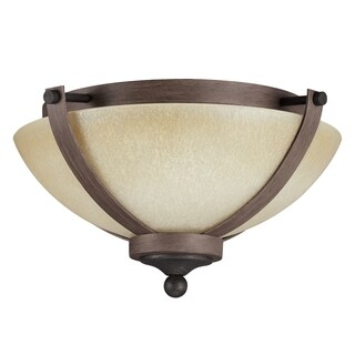 Corbeille 2-light Flush Mount in Stardust with Creme Parchment Glass