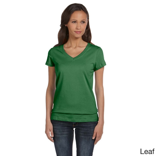 Bella Women's Cotton V-neck T-shirt. Opens flyout.