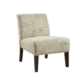 Beige Vintage French Script Contemporary Armless Accent Chair