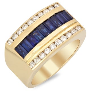 14k Yellow Gold Men's 1 ct TDW White Diamond and 2 1/5 ct Sapphire Ring (F-G, SI1-SI2)
